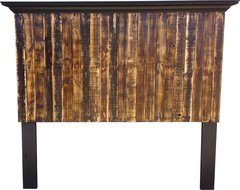 Multi-colored Pallet Wood Headboard with crown molding shelf