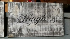 Live Laugh Love - faux distressed plank wood sign set