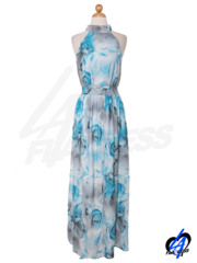 Floral Printed Maxi Dress - Blue