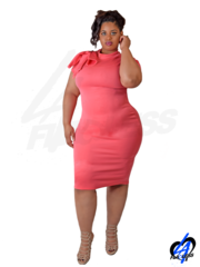 Sunset Midi Dress w/Shoulder Bow (Plus Size) - Coral