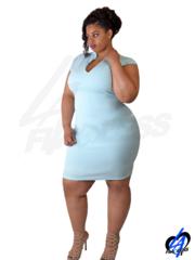 Sleeveless Midi Dress (Plus Size) - Baby Blue