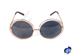 Oversized Round Women Sunglasses - Gold/Charcoal