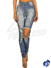 High Waist Skinny Jeans - Denim