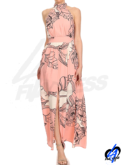 Floral Printed Maxi Dress - Pink