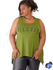 """Blessed"" Tank Top (Plus Size) - Olive"