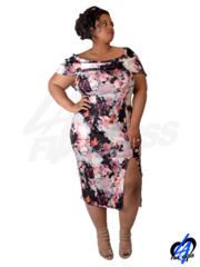 Off-Shoulder Floral Print Dress w/Side Slit (Plus Size) - Pink