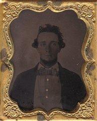 Civilian Gentleman with Patriotic Gutta-Percha Case Ninth Plate Tintype