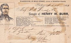 Receipt from Henry W. Burr