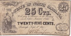 1862 State Of North Carolina 25 Cent Confederate Currency Note
