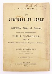 Statues at Large Richmond, Virgina 1863 C. T. Bruen, Clerk for the Confederate States Congress Signed Copy