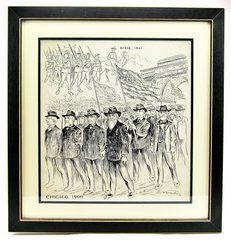 Original Pen and Ink Drawing of Civil War Veterans