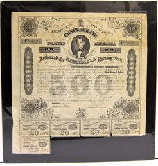 Confederate States of America Five Hundred Dollar Bond With Christopher Memminger