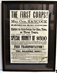 Framed Recruiting Broadside for Hancock's Veterans Corps.