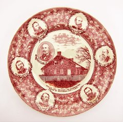 Gettysburg Souvenir Plate Depicting General Lee, His Staff, and Headquarters