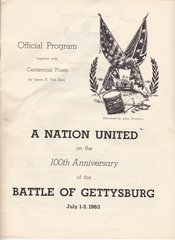 Official Program for the 100th Anniversary of the Battle of Gettysburg