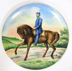 Gettysburg Souvenir Plate Depicting George Meade at Gettysburg 1863