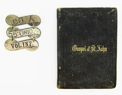 Company A 55th Ohio Volunteer Infantry Ladder Badge And Pocket Bible