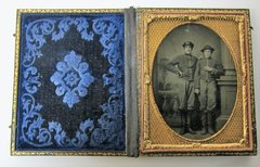 Hand-tinted Cavalry Soldiers Quarter Plate Tintype
