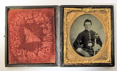 Union Cavalryman with Saber Sixth Plate Tintype