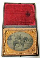 Mounted Cavalryman Quarter Plate Tintype