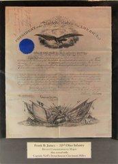 Brevet Commission to Major of Frank B. James 52nd Ohio Infantry