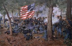 Framed Iron Brigade, 24th Michigan Volunteers, Battle of Gettysburg By Don Trioani