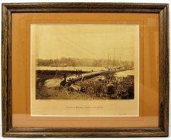 Original Gardner Albumen Photo, Pontoon Bridge Across the James River