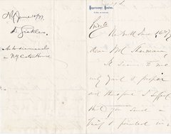 General Daniel Sickles Autograph Letter, Signed Twice to John Sherman