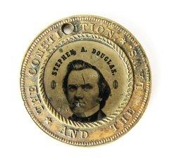 1860 Election Ferrotype Douglas vs. Johnson Pendant