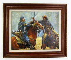 Original Oil Painting on Canvas Cavalry Fight By Jospeh Umble