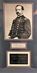 Clip Signature of Union Major General Alfred Pleasonton with Rank of Major General