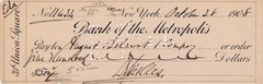 General Daniel E. Sickles Personal Hand Autographed Check