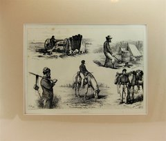 Edwin Forbes Plate No. 27 Engraving, A Quiet Nibble on the Battlefield