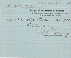 1844 Receipt for Rubber Blankets