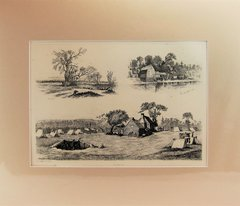Edwin Forbes Engraving Plate No. 22 On Pickett at the River Bank / The Old Saw Mill / Waiting for Something to Turn Up