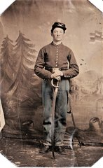 Identified 1/4 Plate Tintype of John Vanpelt 3rd and 8th Indiana Cavalry