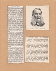 General James Longstreet Period Newspaper Clipping