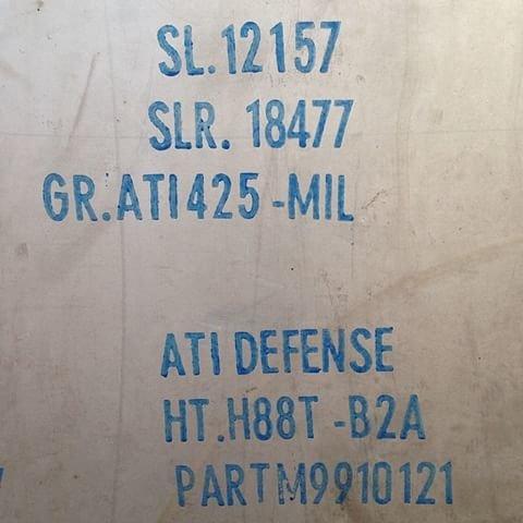 ".250"" x 12"" x 3"" ATI 425 / Gr38 Titanium Strike Plate"