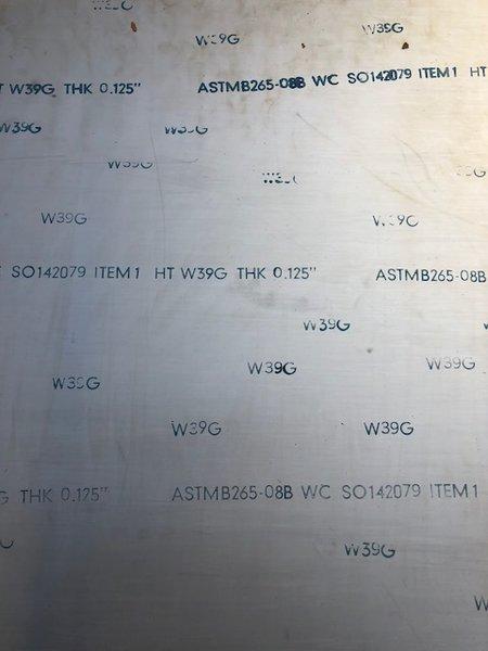 ".125"" x 12"" x 25.5"" ATI 425 /Gr38 Titanium Armor Plate"