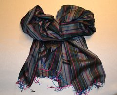 Pure Silk Handloom Striped Scarf