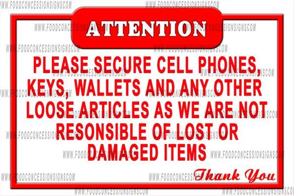 attention secure belongings