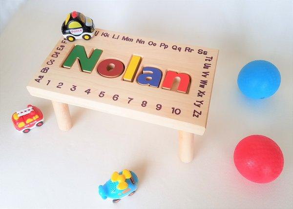 Child S Name Puzzle Stool Custom Carving Llc