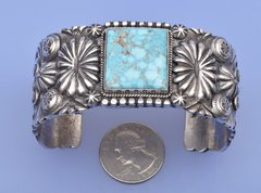 Man or Woman's Sterling Navajo cuff with Turquoise Mountain turquoise, by Delbert Saunders.—SOLD!