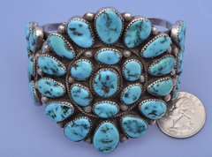Dead-pawn Navajo cluster cuff with Sleeping Beauty turquoise—by Roanhorse