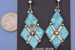 Dead pawn Navajo diamond-shaped, 4-stone earrings