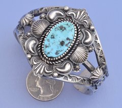 Old-style Sterling Navajo cuff with Sleeping Beauty turquoise by K. Billah.—SOLD!