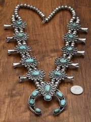 Vintage Navajo squash blossom necklace with turquoise.