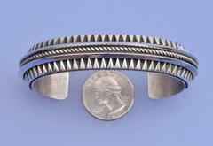 Large Navajo Sterling cuff with deep hand-stamping by L. Tahe.—SOLD!