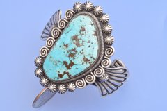 Elaborate Navajo cuff by Leon Martinez.