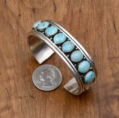 Navajo Sterling row cuff by Charles Johnson